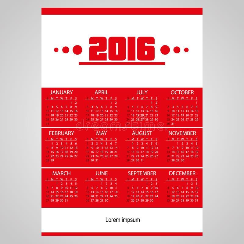 calendário de parede vermelho do negócio 2016 simples com branco ilustração stock