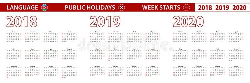 2018, 2019, calendário de um vetor de 2020 anos na língua azerbaijana, começos da semana em domingo ilustração stock