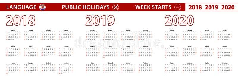 2018, 2019, calendário de um vetor de 2020 anos na língua croata, começos da semana em domingo ilustração stock