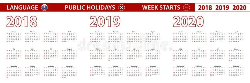 2018, 2019, calendário de um vetor de 2020 anos na língua eslovaca, começos da semana em domingo ilustração do vetor