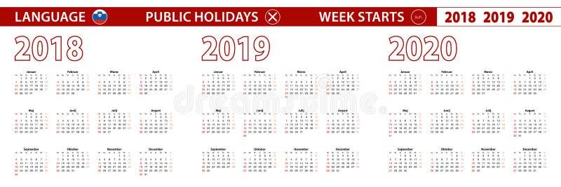2018, 2019, calendário de um vetor de 2020 anos na língua eslovena, começos da semana em domingo ilustração do vetor