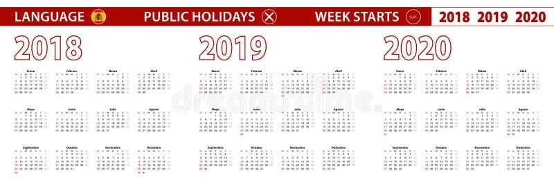 2018, 2019, calendário de um vetor de 2020 anos na língua espanhola, começos da semana em domingo ilustração royalty free