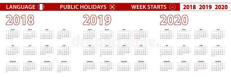 2018, 2019, calendário de um vetor de 2020 anos na língua francesa, começos da semana em domingo ilustração royalty free