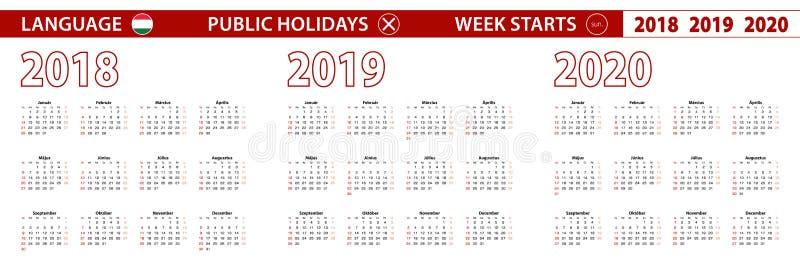 2018, 2019, calendário de um vetor de 2020 anos na língua húngara, começos da semana em domingo ilustração stock