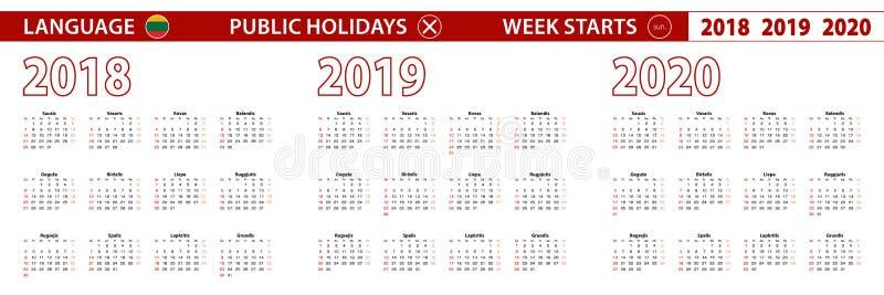 2018, 2019, calendário de um vetor de 2020 anos na língua lituana, começos da semana em domingo ilustração do vetor