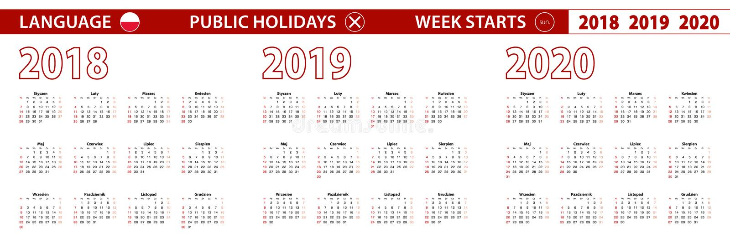 2018, 2019, calendário de um vetor de 2020 anos na língua polonesa, começos da semana em domingo ilustração stock