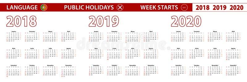 2018, 2019, calendário de um vetor de 2020 anos na língua portuguesa, começos da semana em domingo ilustração stock