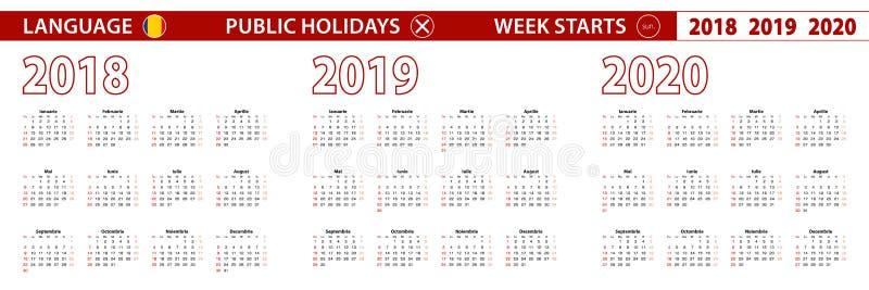 2018, 2019, calendário de um vetor de 2020 anos na língua romena, começos da semana em domingo ilustração do vetor
