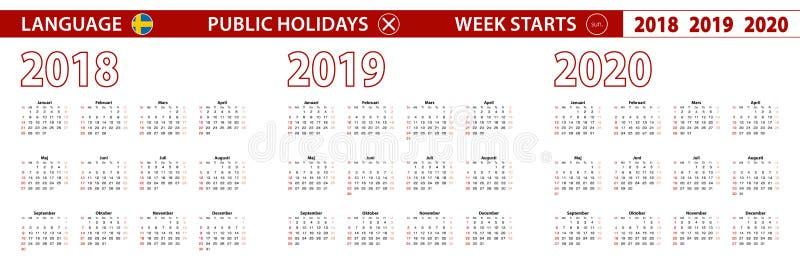 2018, 2019, calendário de um vetor de 2020 anos na língua sueco, começos da semana em domingo ilustração do vetor