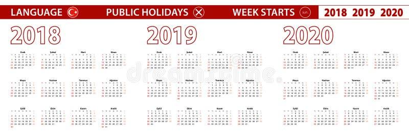 2018, 2019, calendário de um vetor de 2020 anos na língua turca, começos da semana em domingo ilustração do vetor