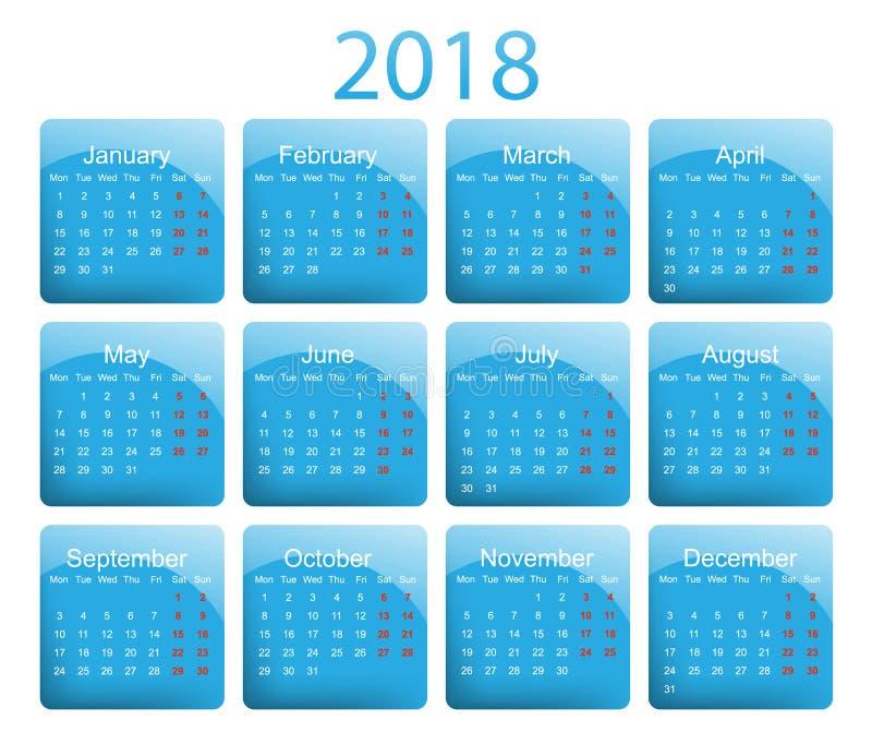 calendário de 2018 vetores ilustração stock