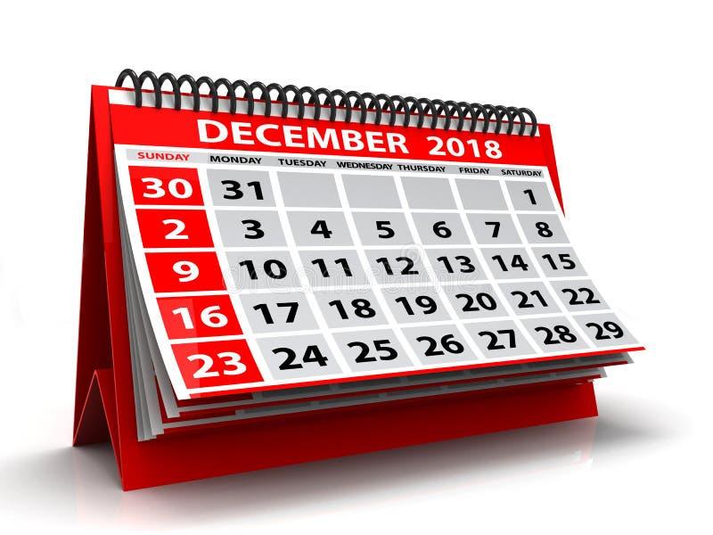 Calendário dezembro de 2018 espiral Em dezembro de 2018 calendário no fundo branco ilustração 3D ilustração royalty free