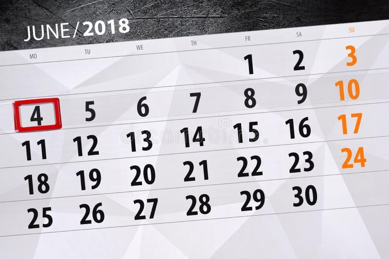 Calendário, dia, mês, negócio, conceito, diário, fim do prazo, planejador, feriado do estado, tabela, ilustração de cor, 2018, o  fotografia de stock royalty free