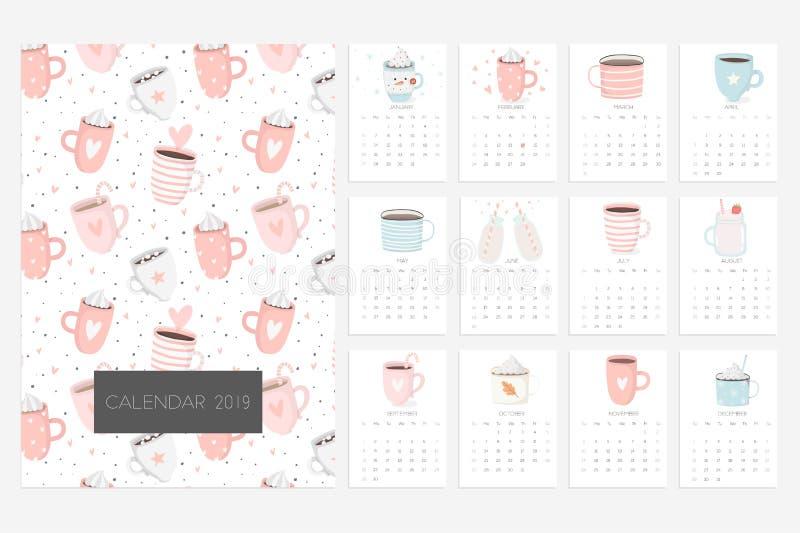 Calendário 2019 Divertimento e calendário bonito com mão bonito os copos tirados ilustração do vetor