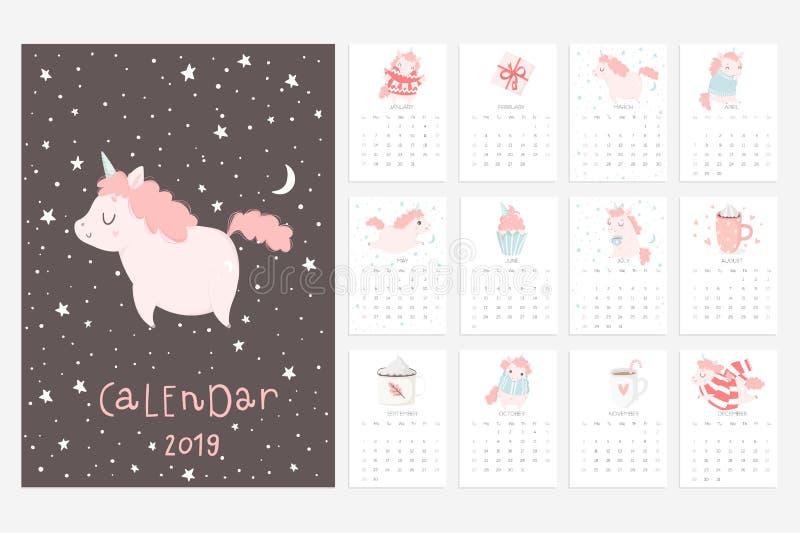 Calendário 2019 Divertimento e calendário bonito com unicórnios tirados mão ilustração royalty free