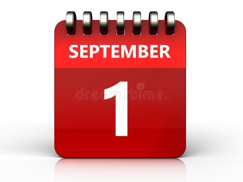 calendário do 1º de setembro 3d ilustração stock