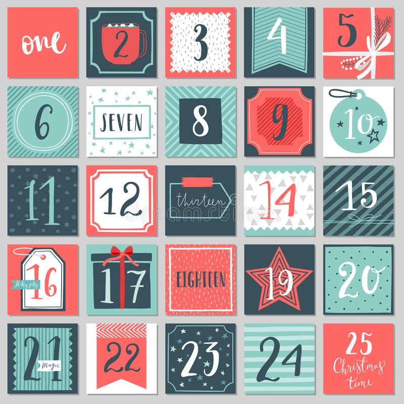 Calendário do advento do Natal, estilo tirado mão ilustração stock