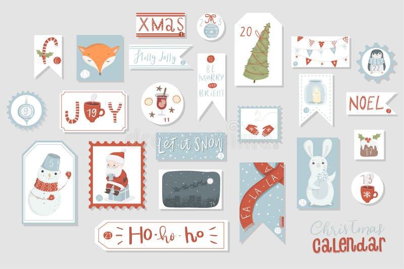 Calendário do advento do Natal, mão bonito estilo tirado ilustração do vetor