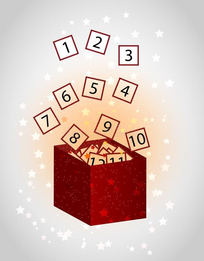 Calendário do advento do Natal sob a forma de uma caixa de presente com vetor dos cartões ilustração stock