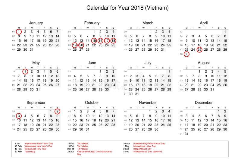 Calendário do ano 2018 com feriados e feriados oficiais para imagem de stock royalty free