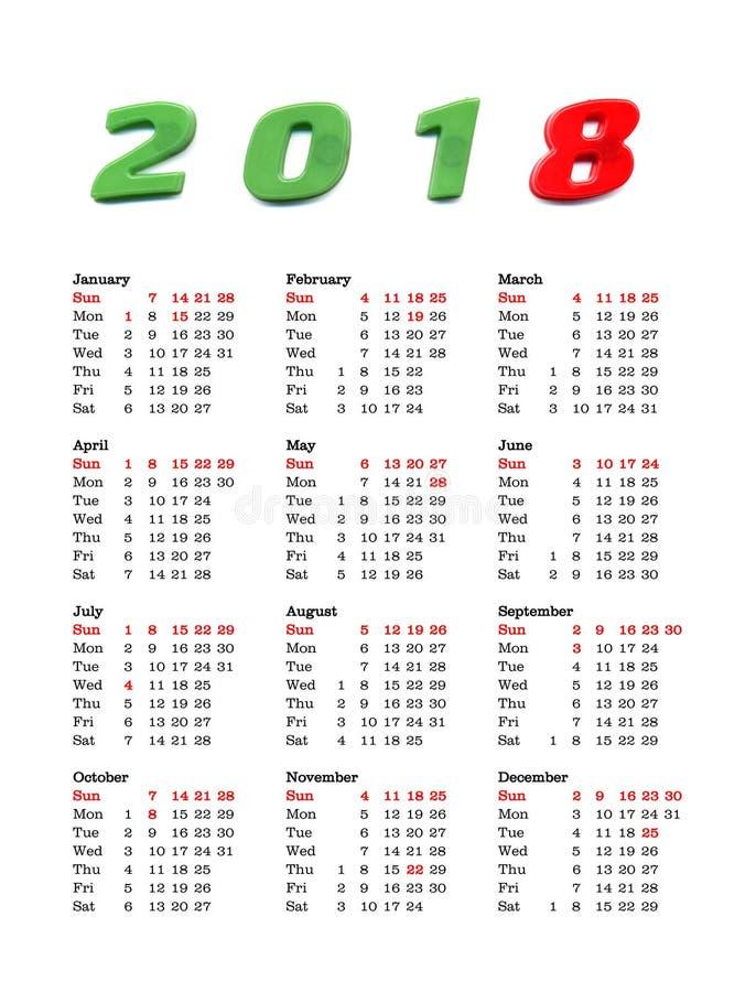Calendário Do Ano 2018 - Estados Unidos Da América
