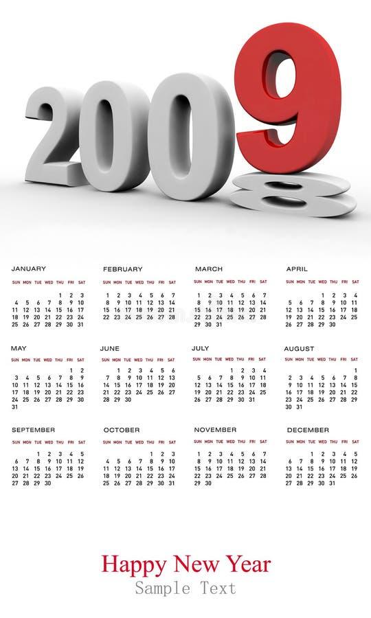 Calendário do ano novo 2009 ilustração do vetor