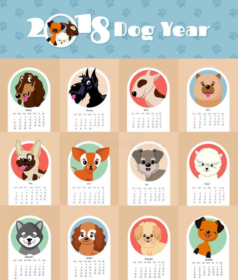 calendário do ano 2018 novo com molde chinês bonito e engraçado do vetor do símbolo dos cães de cachorrinho imagens de stock royalty free