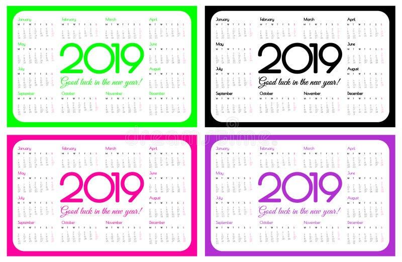 calendário do bolso de 2019 anos Um grupo de quatro cores: Verde do UFO, rosa plástico e roxo do protão Projeto simples Começos d ilustração do vetor