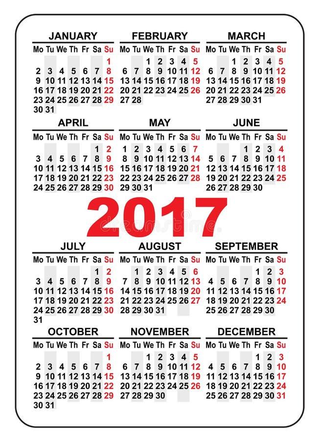 Calendário 2017 do bolso Primeiro dia segunda-feira ilustração royalty free