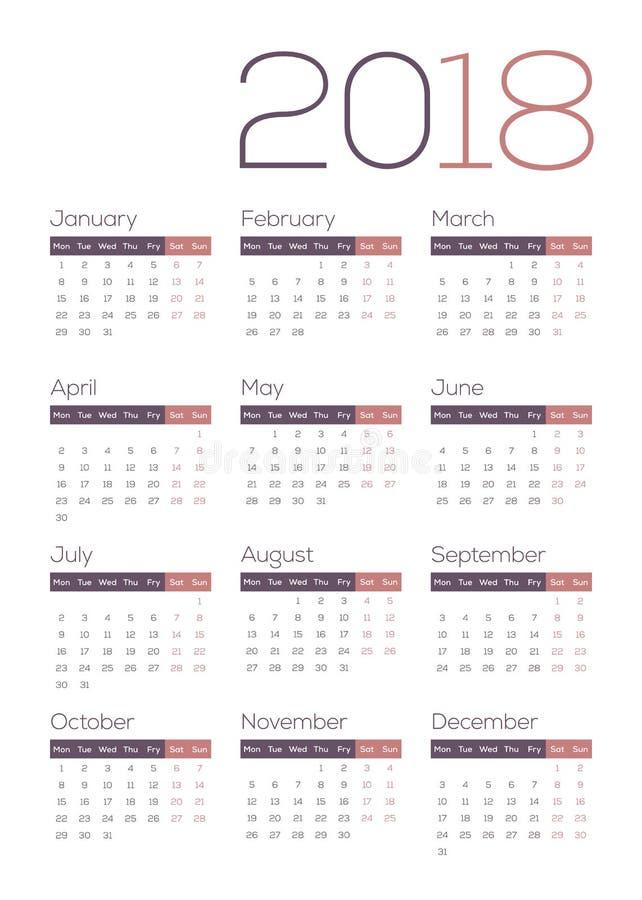 Calendário do calendário 2018 - bonito, moderno, de Fresn, limpo e fresco foto de stock