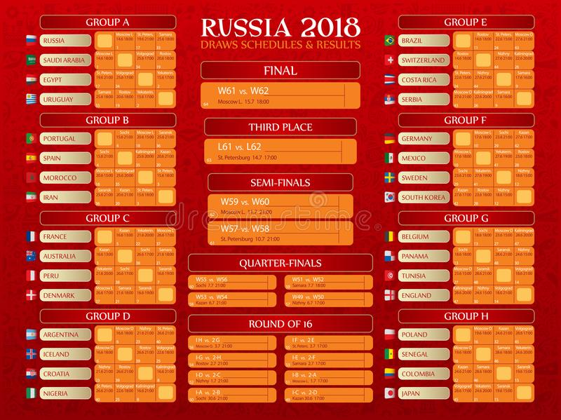 Calendário do campeonato do mundo de Rússia ilustração royalty free