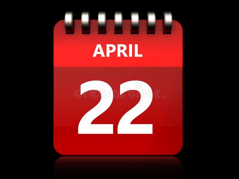 calendário do 22 de abril 3d ilustração royalty free
