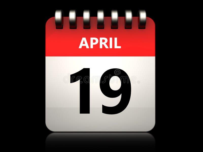 calendário do 19 de abril 3d ilustração royalty free