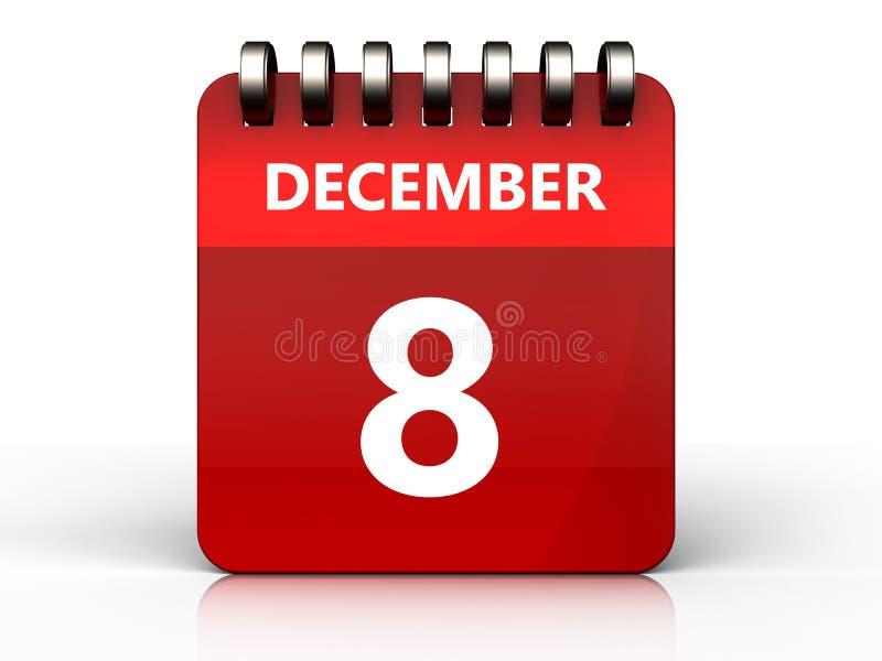 calendário do 8 de dezembro 3d ilustração do vetor