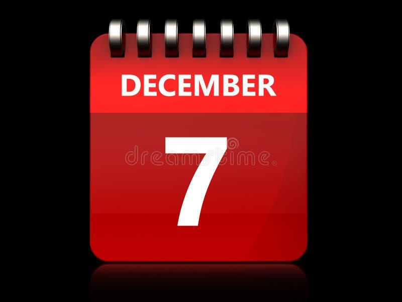 calendário do 7 de dezembro 3d ilustração royalty free