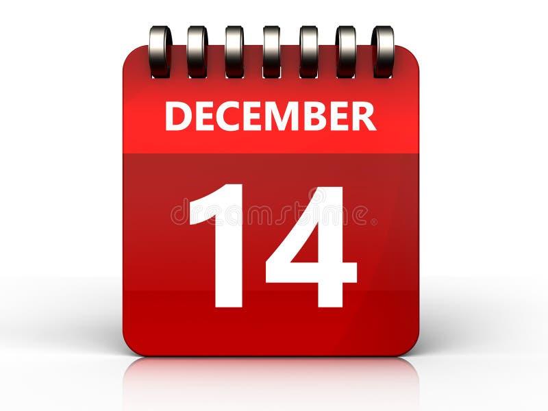 calendário do 14 de dezembro 3d ilustração stock