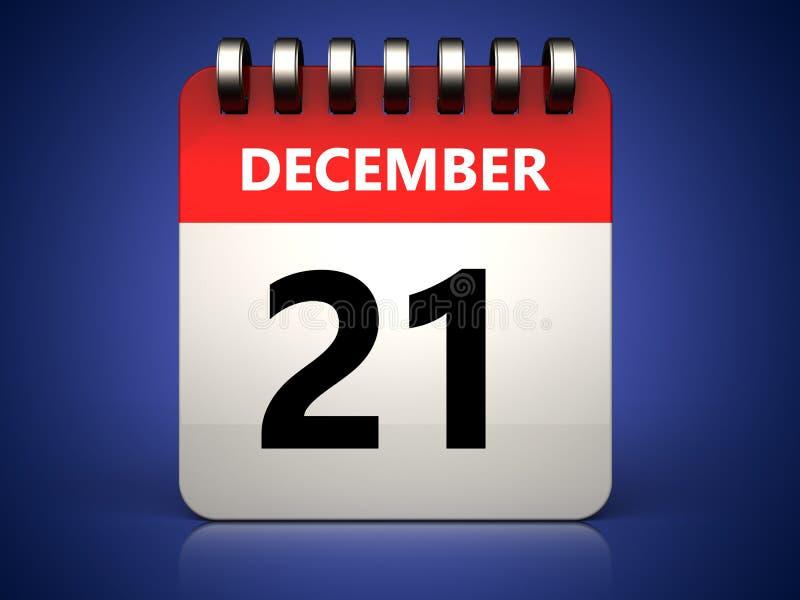 calendário do 21 de dezembro 3d ilustração stock