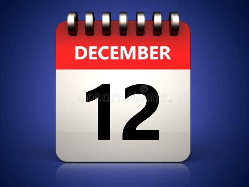 calendário do 12 de dezembro 3d ilustração do vetor