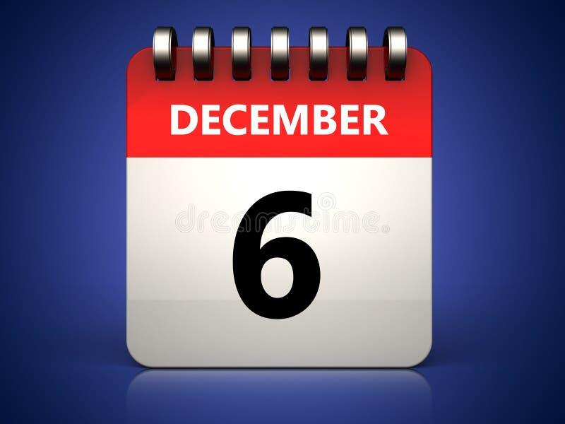 calendário do 6 de dezembro 3d ilustração do vetor