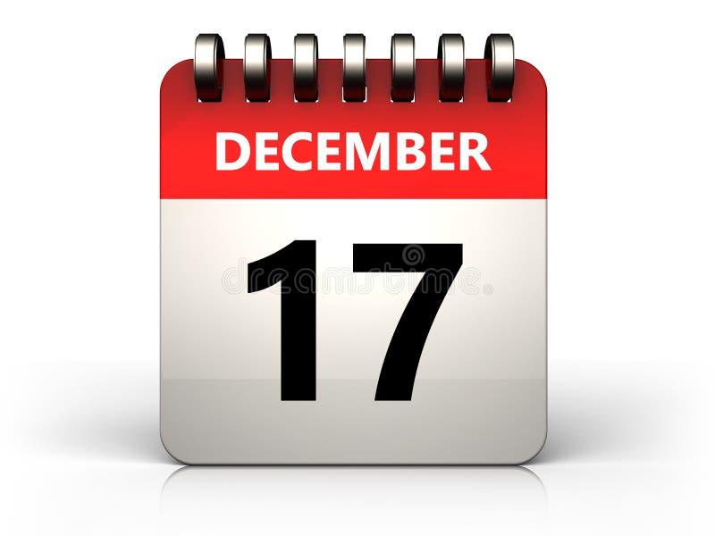 calendário do 17 de dezembro 3d ilustração do vetor