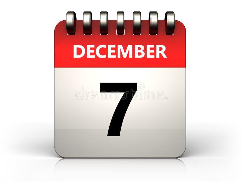 calendário do 7 de dezembro 3d ilustração do vetor