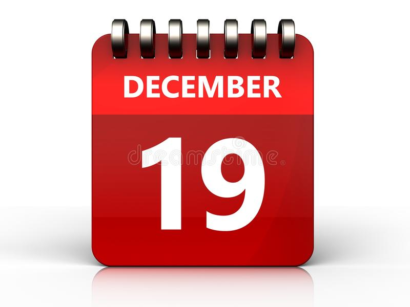 calendário do 19 de dezembro 3d ilustração royalty free