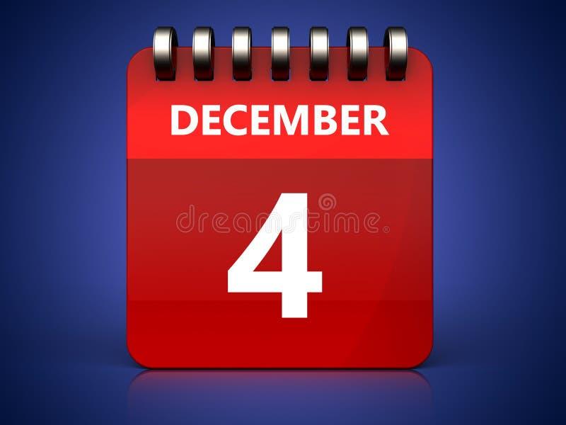 calendário do 4 de dezembro 3d ilustração stock