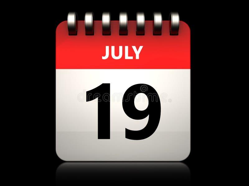 calendário do 19 de julho 3d ilustração do vetor