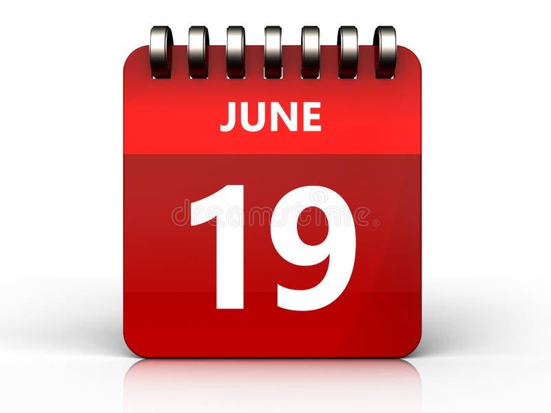 calendário do 19 de junho 3d ilustração do vetor