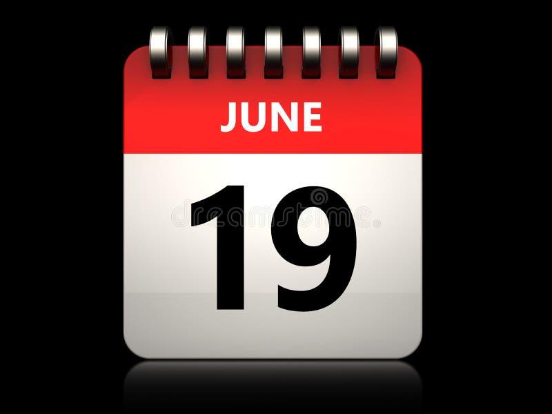 calendário do 19 de junho 3d ilustração royalty free