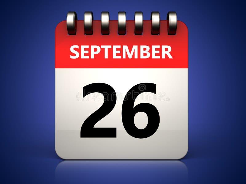 calendário do 26 de setembro 3d ilustração do vetor