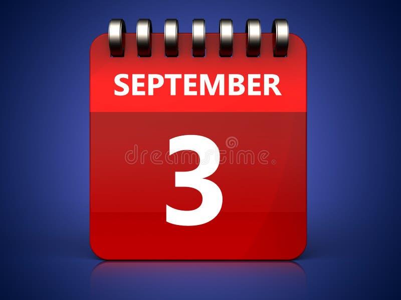 calendário do 3 de setembro 3d ilustração do vetor