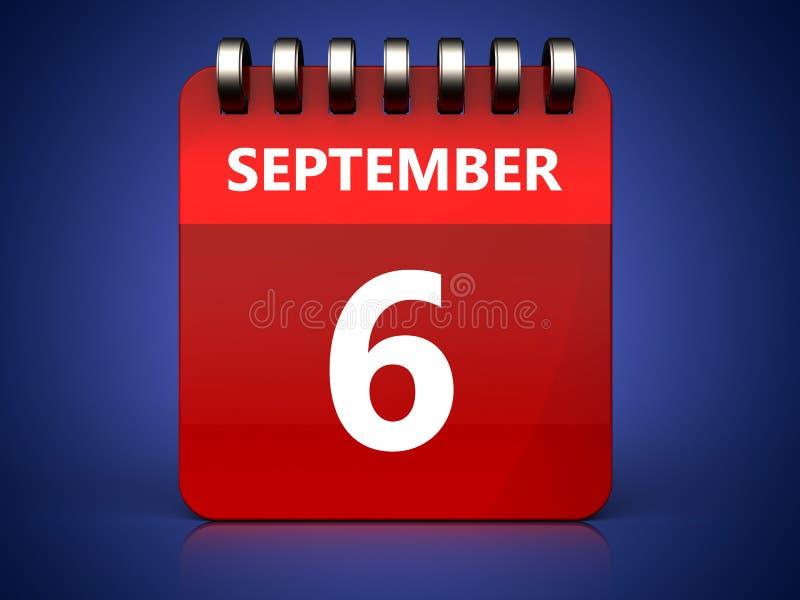 calendário do 6 de setembro 3d ilustração stock