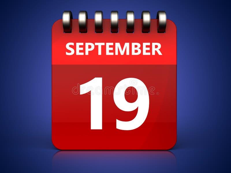 calendário do 19 de setembro 3d ilustração royalty free